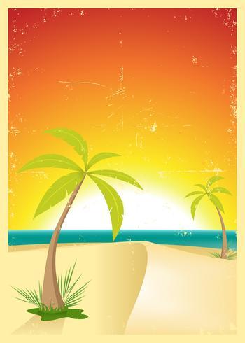 Carte postale grunge exotique de plage vecteur