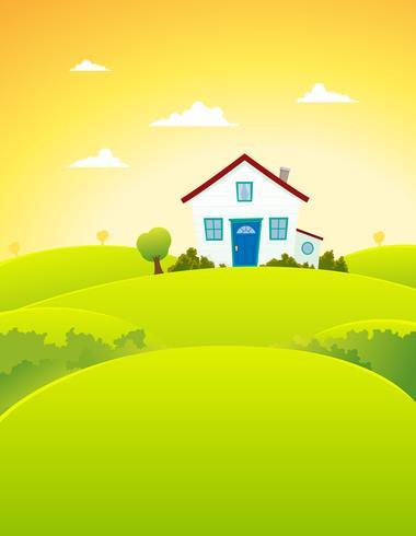 Maison dans les champs vecteur