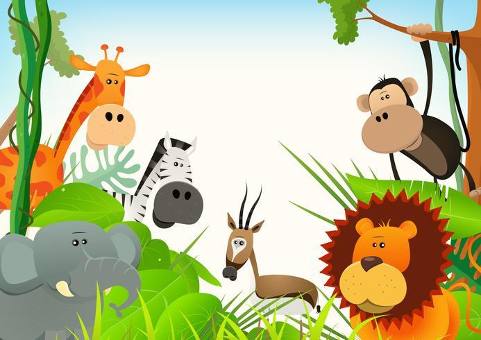 Fond de carte postale animaux sauvages vecteur