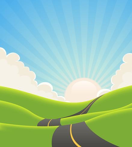 Route de paysage bleu été vecteur