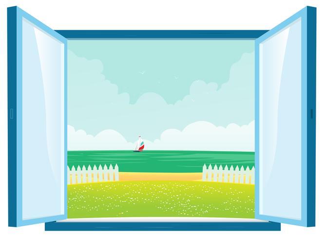 Vue de la plage par la fenêtre vecteur