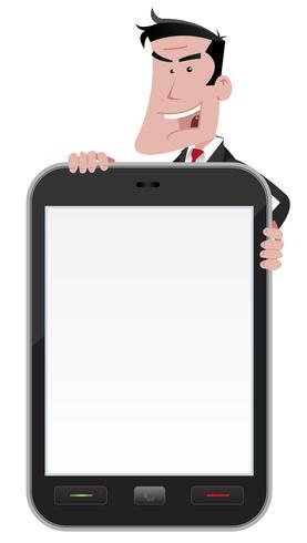 Dessin animé, homme, tenue, smartphone, signe vecteur