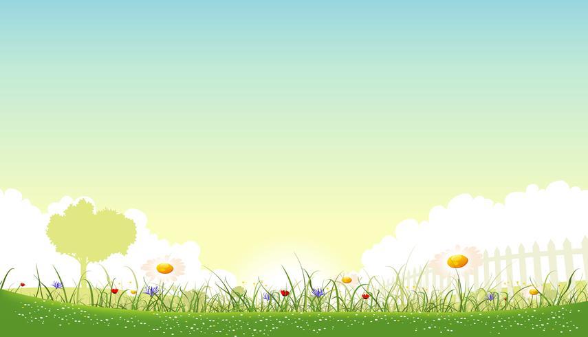 Fond de paysage de printemps magnifique vecteur