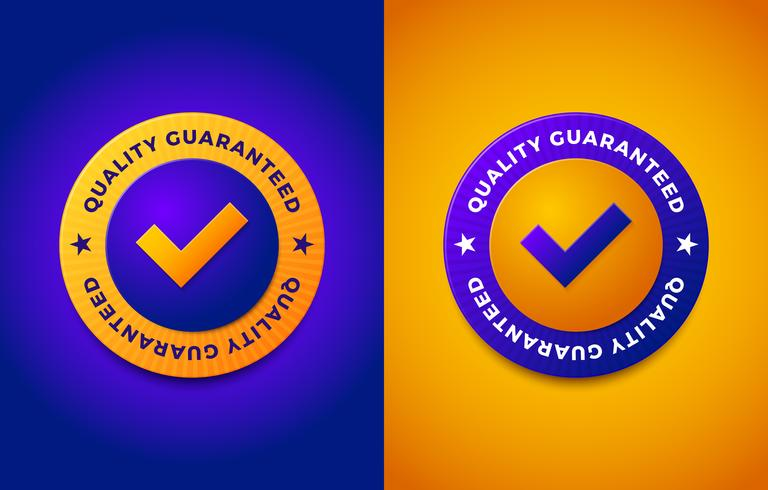 Label de garantie de qualité tampon rond vecteur