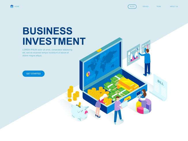 Concept isométrique de design plat moderne de l'investissement des entreprises vecteur