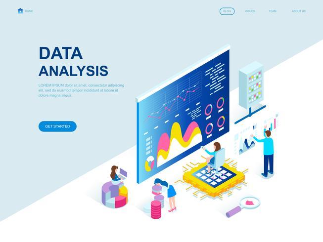 Concept isométrique de design plat moderne d'analyse de données vecteur