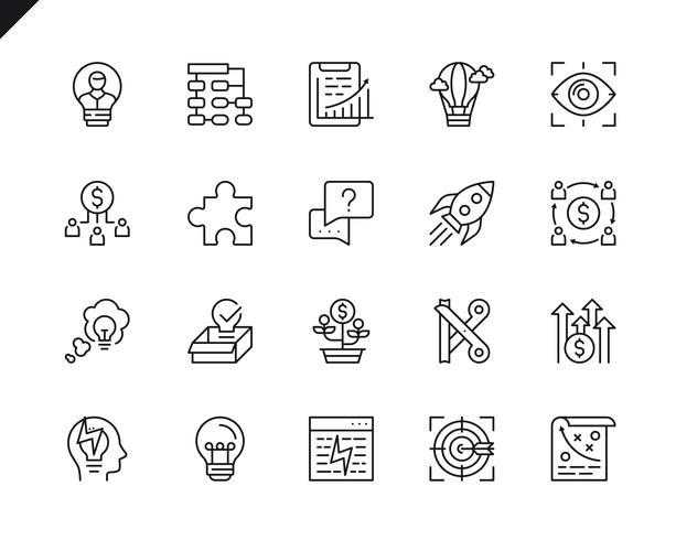 Ensemble simple d'icônes de ligne pour le démarrage d'affaires connexes vecteur