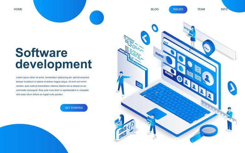 Concept de conception isométrique moderne du développement logiciel vecteur