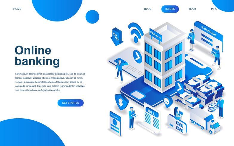 Concept de design isométrique moderne de la banque en ligne vecteur