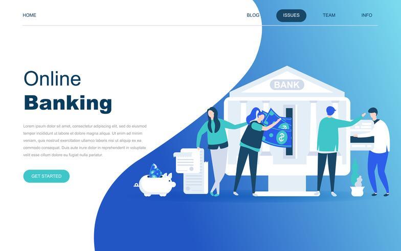 Concept de design plat moderne de la banque en ligne vecteur