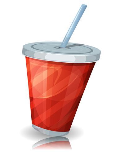 Fast Food Cup De Soda Avec De La Paille vecteur