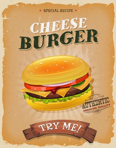 Affiche de cheeseburger vintage grunge vecteur