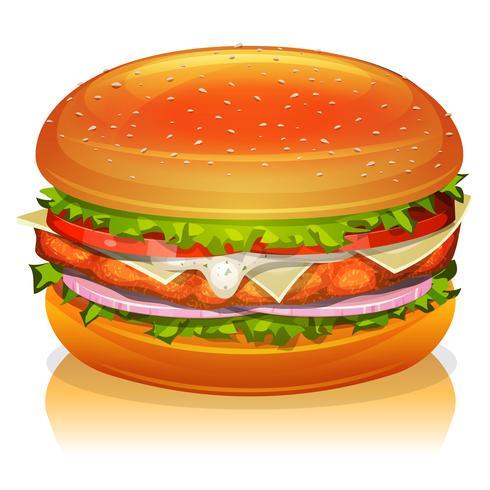 Icône De Burger De Poulet vecteur