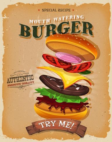 Affiche des ingrédients du burger vintage et grunge vecteur