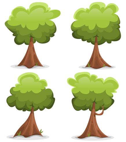 Ensemble d'arbres drôles verts vecteur