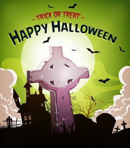 Halloween vacances fond avec pierre tombale chrétienne vecteur
