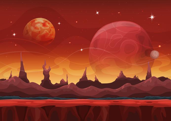 Fantasy Sci-Fi Martian Background pour le jeu Ui vecteur