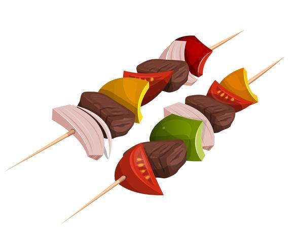 Brochettes Kebab Icons vecteur