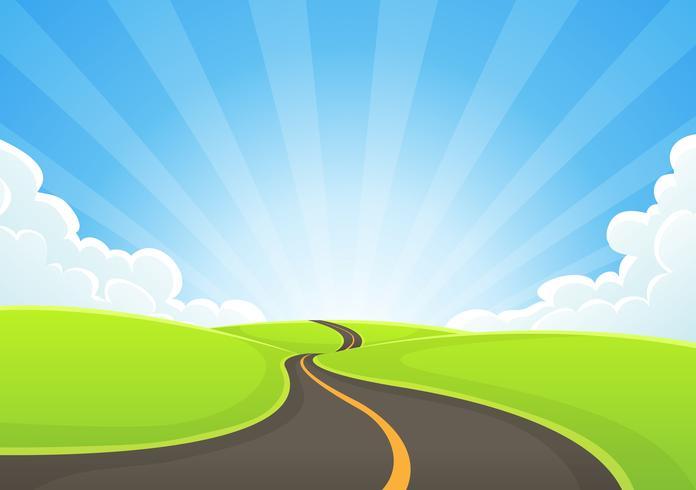 Route de campagne serpentant avec ciel bleu et rayons de soleil vecteur
