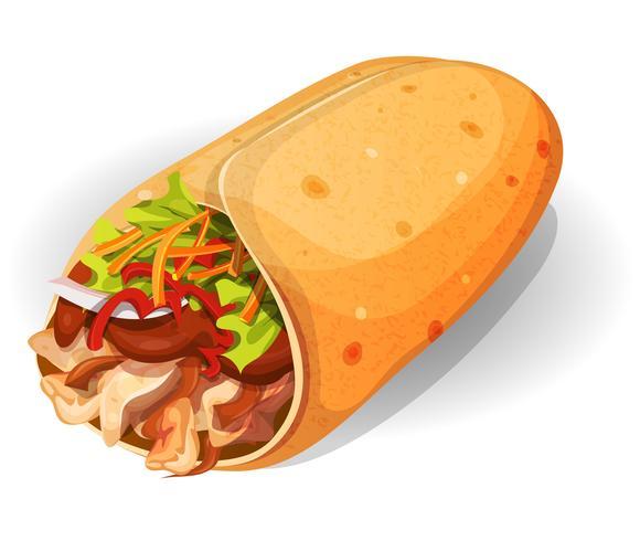Icône de burrito mexicain vecteur