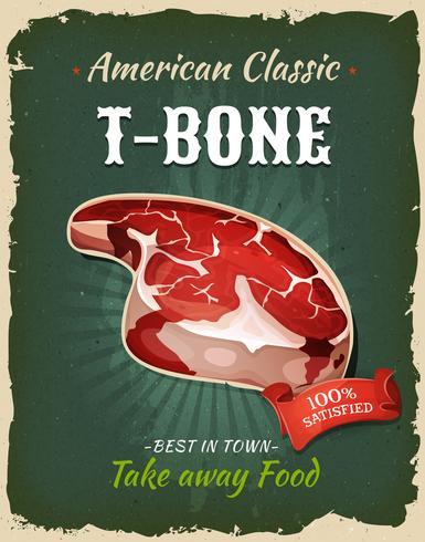 Affiche de bifteck en forme de T-Bone rétro-restauration rapide vecteur