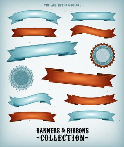 Ensemble Bannières Et Rubans Vintage vecteur