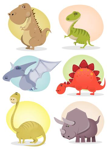Collection de dinosaures de dessins animés vecteur