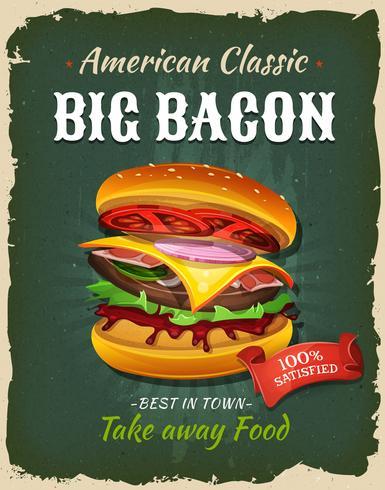 Affiche rétro de burger de bacon de restauration rapide vecteur