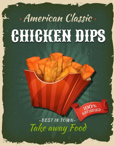 Affiche de trempettes de poulet Fast Food rétro vecteur
