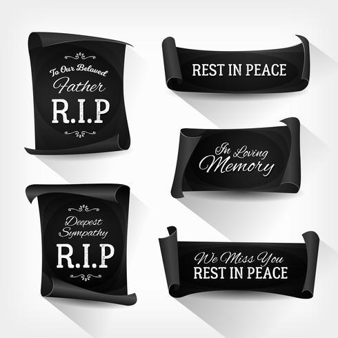 Bannières Funeral Rest In Peace vecteur