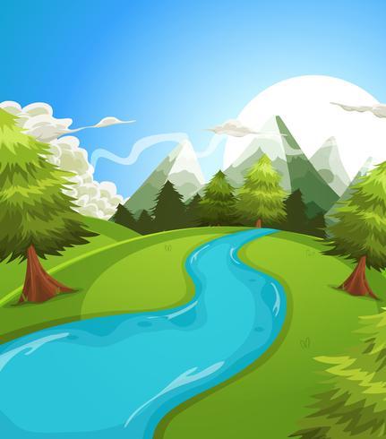Dessin animé été montagnes paysage vecteur