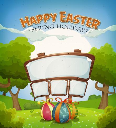 Vacances de Pâques et paysage de printemps avec signe vecteur