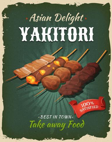 Affiche de brochettes de Yakitori japonais rétro vecteur