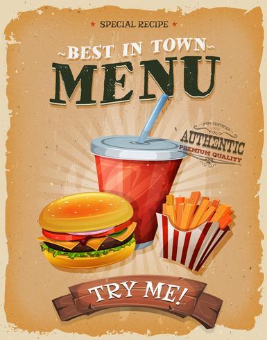 Affiche de menu de restauration rapide grunge et vintage vecteur