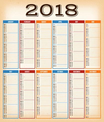 Calendrier de conception vintage pour l'année 2018 vecteur