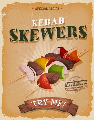 Affiche de brochettes de kebab grunge et vintage vecteur