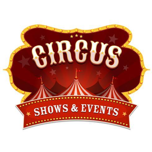 Bannière de cirque avec chapiteau vecteur