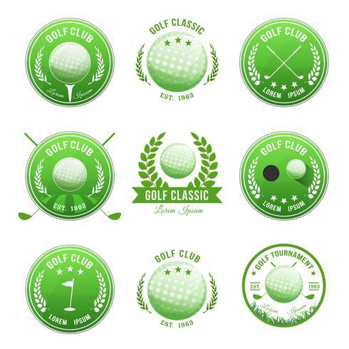 Ensemble de bannières et de badges de clubs de golf vecteur