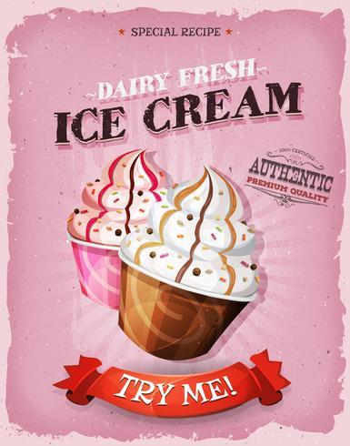 Affiche de dessert de crème glacée vintage et grunge vecteur