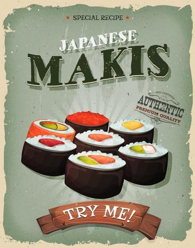 Affiche japonaise de Makis grunge et vintage vecteur