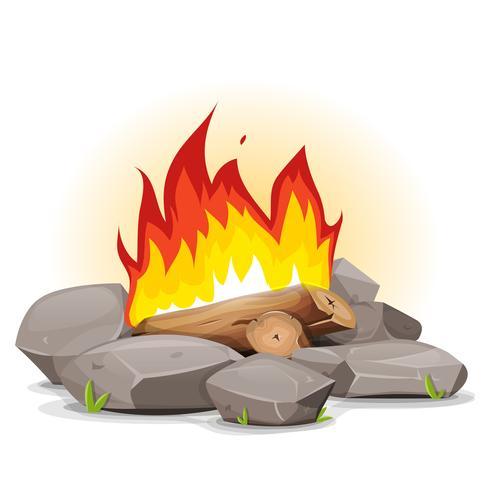 Feu de camp avec flammes ardentes vecteur