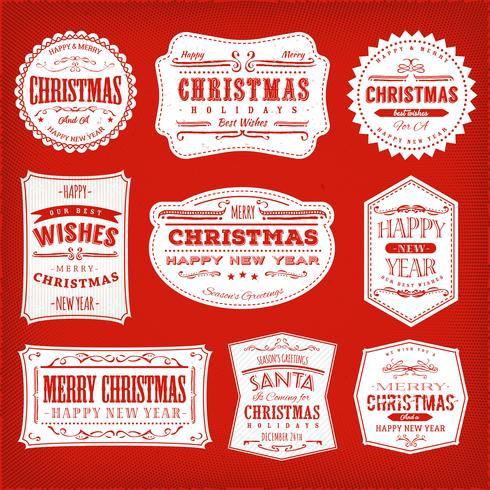 Cadres, bannières et insignes de Noël vecteur