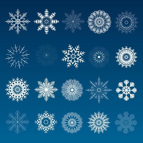 Ensemble de flocons de neige de Noël hiver vecteur
