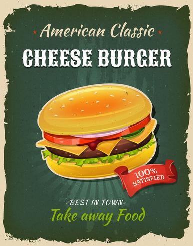 Affiche rétro de cheeseburger de restauration rapide vecteur