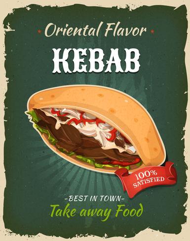 Affiche de sandwich de kebab de restauration rapide rétro vecteur
