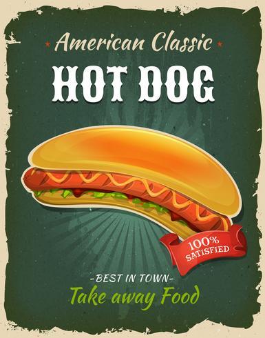 Affiche rétro de hot-dog de restauration rapide vecteur