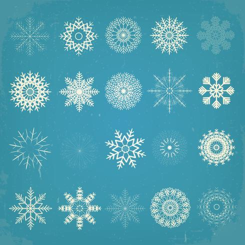 Ensemble de flocons de neige de Noël Vintage vecteur