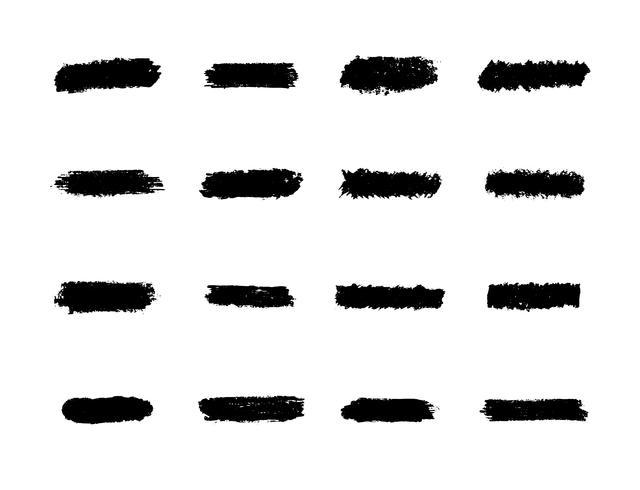 Ensemble de coups de pinceau, traînées de peinture à la main noire vecteur