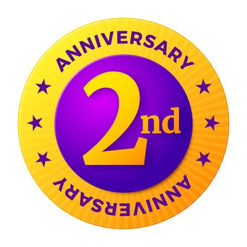 Insigne du deuxième anniversaire, étiquette de célébration en or, vecteur
