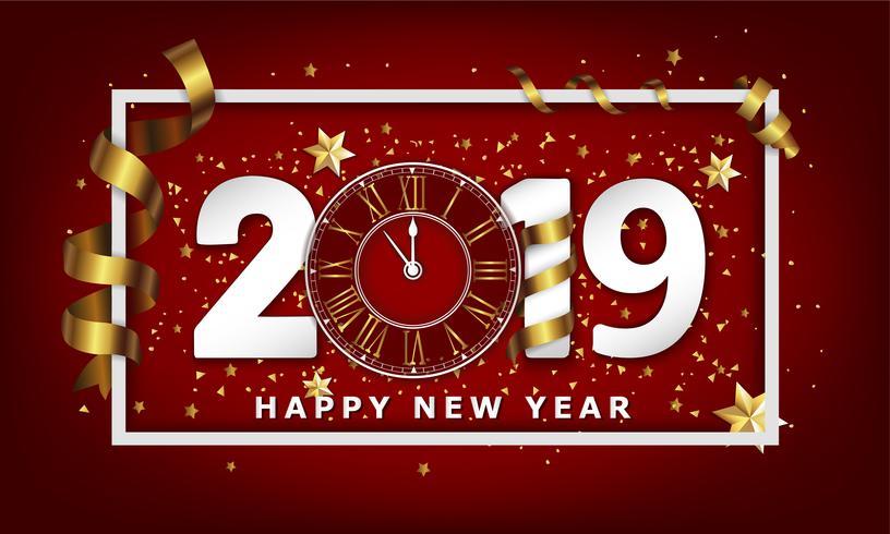 Nouvel An Typographic Fond Créatif 2019 Avec Horloge vecteur